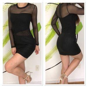 Bebe mesh long sleeve bodycon mini dress LBD